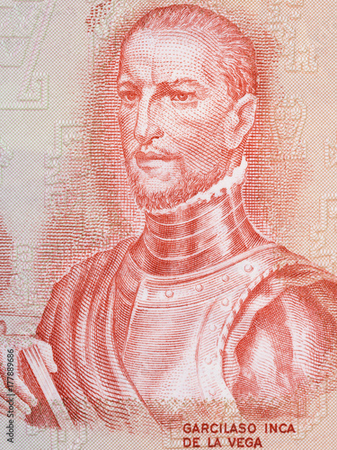 Garcilaso de la Vega portrait from old Peruvian money Canvas