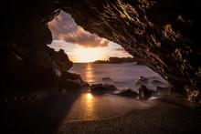 Lava Tunnel At Sea At Sunset, Maui Island Cave, Hawaii, Usa