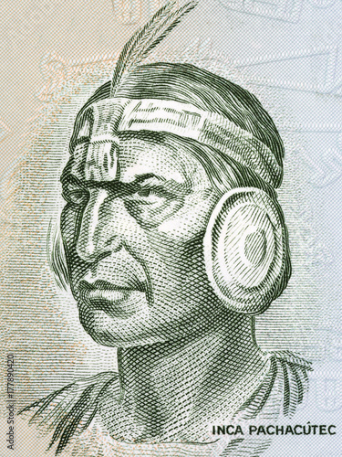 Inca Pachacutec portrait from old Peruvian money Canvas