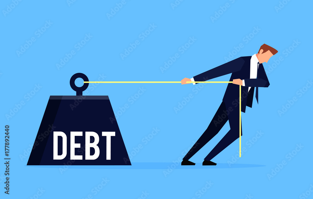 Fototapety, obrazy: Debtor. Businessman is pulling a huge weight with a debt.