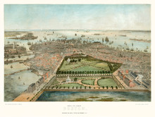 Old Aerial View Of Boston, Mas...