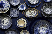 Assorted Blue And White Patterned Porcelain