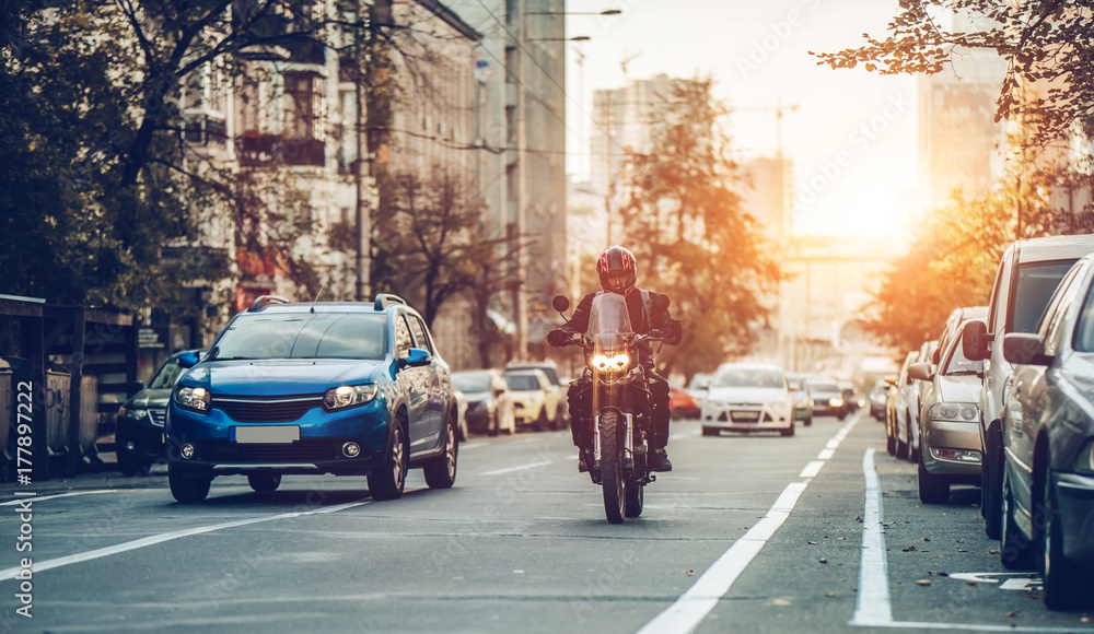 Fototapety, obrazy: Motorcycle and cars on street