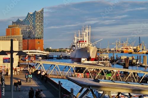 Plakat Hamburg, Hamburger Hafen, Landungsbrücken
