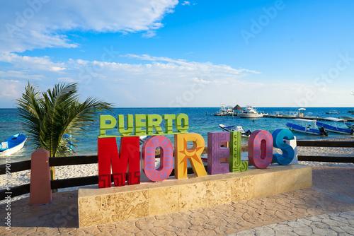Puerto Morelos word sign in Riviera Maya