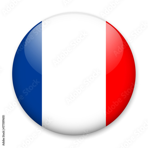 Flag Of France In The Form Of A Round Button With A Light Glare And