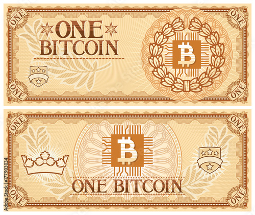 Photo One Bitcoin abstract banknote