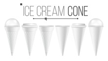 White Ice Cream Cone Mock Up Set Vector. For Ice Cream, Sour Cream. Different Food Bucket Cone Container. White Empty Blank. Isolated Illustration.