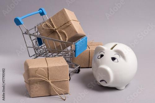 Sad piggy bank with shopping basket Poster