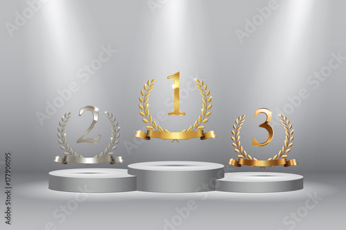Fotografie, Obraz  Winner background with golden, silver and bronze laurel wreaths with ribbons and first, second and third place signs on round pedestal isolated on blue