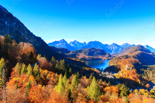 Valokuva  Mountain lake and  view to Bavarian Alps