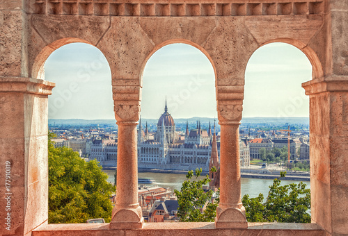 Hungary. Budapest. Parliament view through Fishermans Bastion. Wallpaper Mural