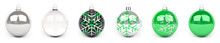 Green Christmas Bauble Collection 3D Rendering