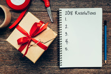 2018 Resolutions Text On Noteb...