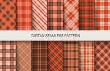 Tartan Seamless Vector Patterns In Brown And Red Colors