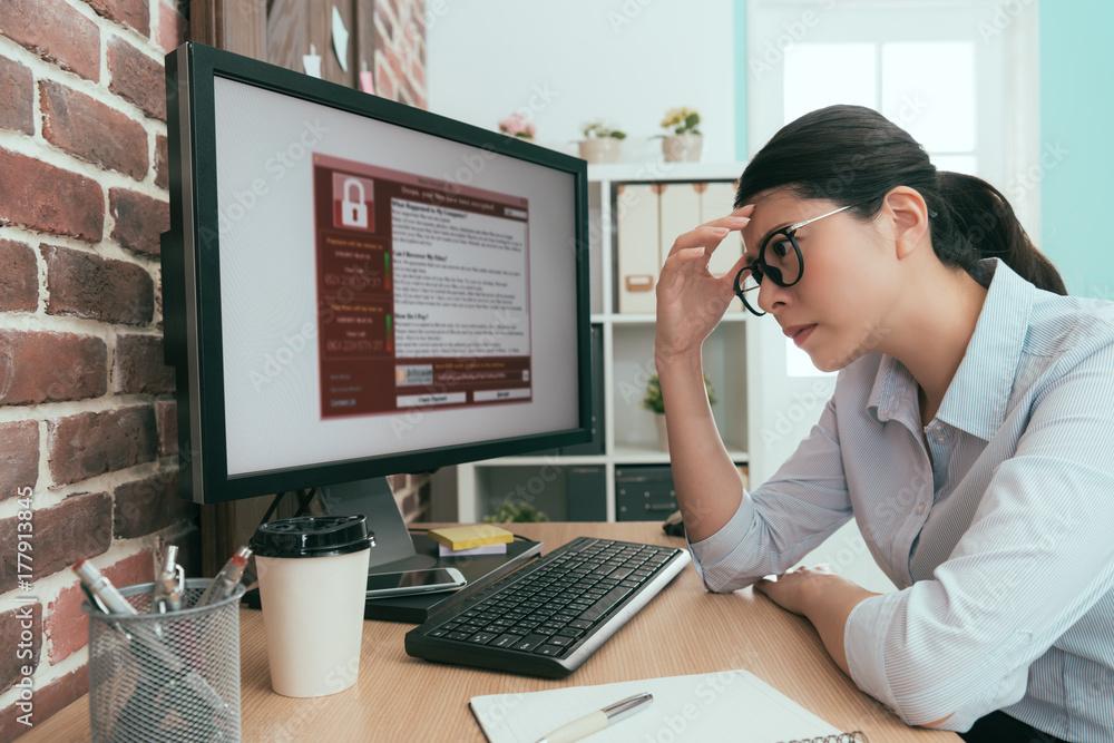 Fototapeta pretty office worker lady thinking work solution