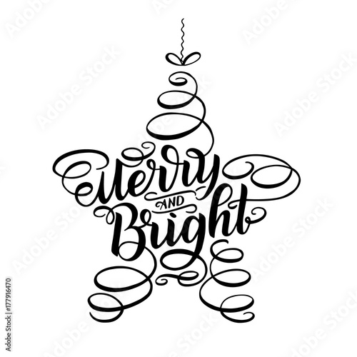 Vászonkép  Merry and Bright New Year Lettering in form of star tree toy, Greeting Card design circle text frame isolated on white
