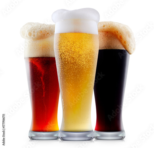Foto op Canvas Alcohol Mug collection of frosty dark red and light beer with foam isolated on a white background