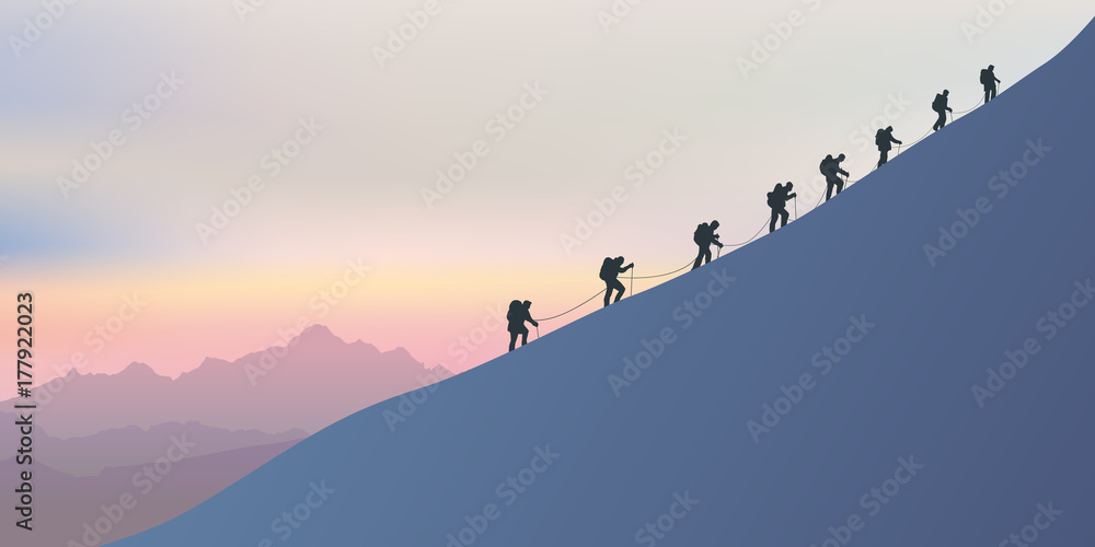 Fototapety, obrazy: alpinisme - montagne - alpiniste - symbole - union -ensemble - paysage - cordée - escalade