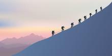 Alpinisme - Montagne - Alpiniste - Symbole - Union -ensemble - Paysage - Cordée - Escalade