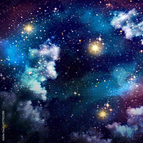 Fototapeta Nocne niebo z kolorowymi gwiazdami.