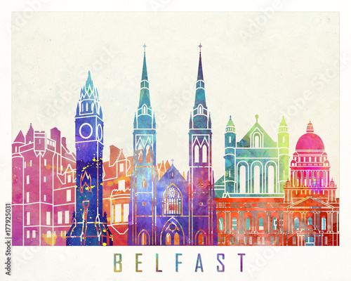 Belfast landmarks watercolor poster Canvas Print