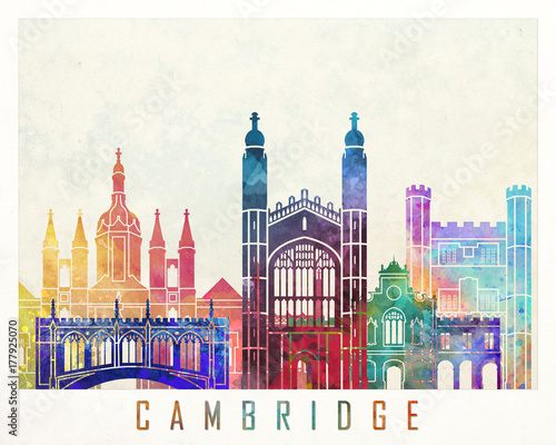 Canvas Print Cambridge landmarks watercolor poster