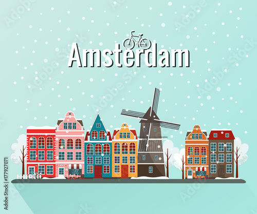 Photo Vector illustration of winter Amsterdam. Old european city.