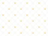 Bezszwowy wzór w retro stylu z złotą koroną i różowymi polek kropkami na białym tle. Śliczna tapeta dla małych księżniczek. - 177927263