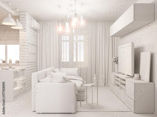 Fényképezés 3d illustration living room and kitchen interior design