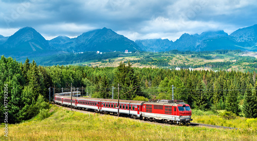 Passenger train in the High Tatra Mountains, Slovakia