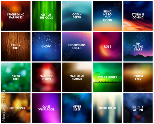 big set of square dark blurred nature backgrounds various