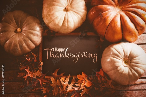 Composite image of illustration of happy thanksgiving day text