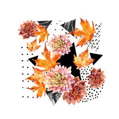 Fototapeta Natura Autumn watercolor floral arrangement