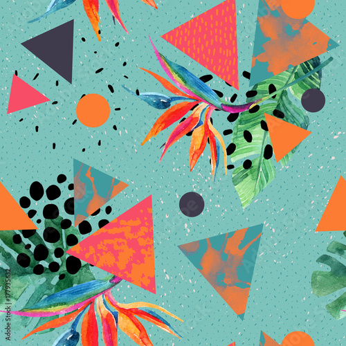 Photo sur Toile Empreintes Graphiques Abstract tropical summer design in minimal style.