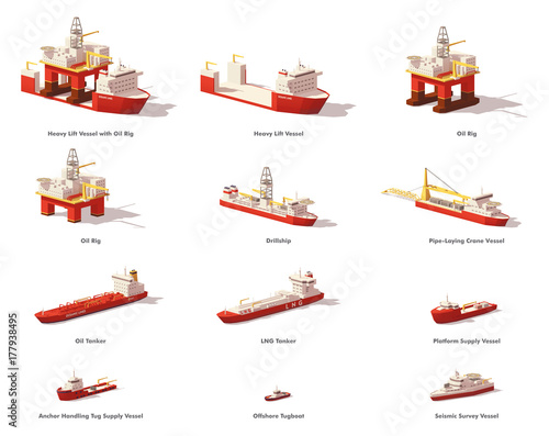 Canvas Print Vector low poly offshore oil exploration vessels