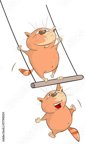 Deurstickers Babykamer Illustration of Cute Cats Acrobat. Cartoon Character