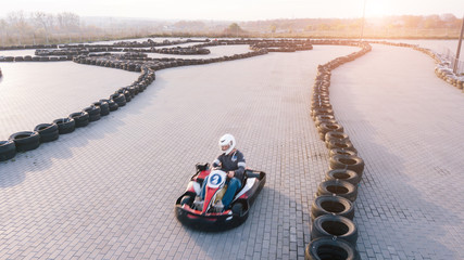 Karting competition shot from aerial perspective