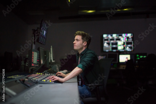 TV operator at work in a control room