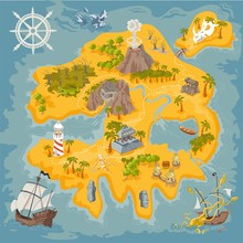 Vector Map Elements Of Fantasy...