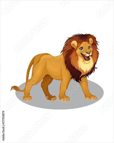Wall Murals Fairytale World Adult funny Lion- vector drawing - isolate white background