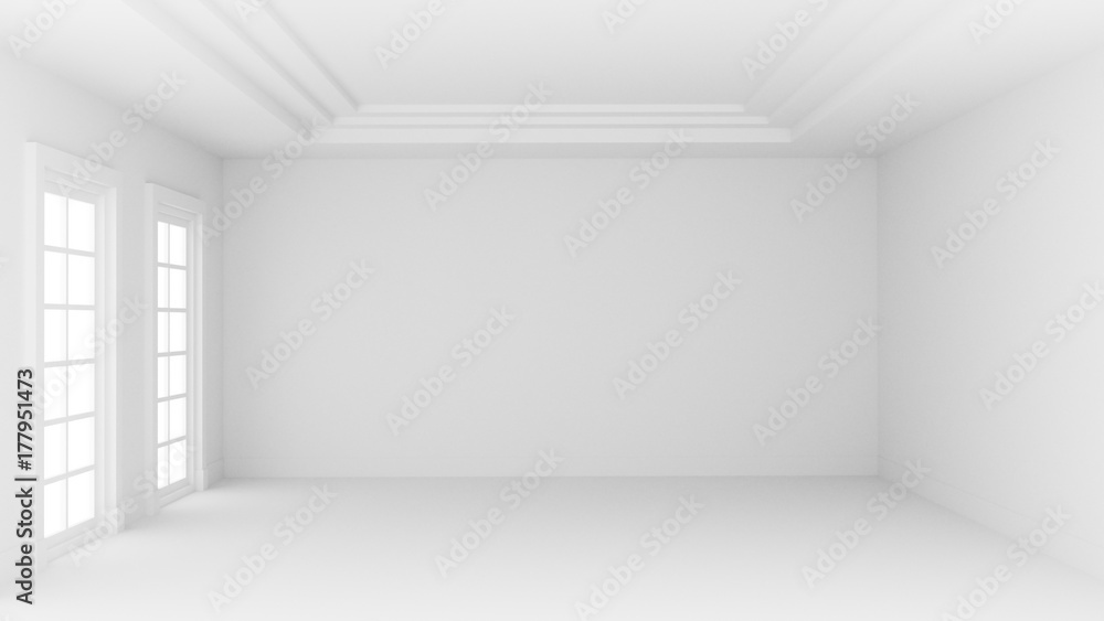 Fototapeta 3D illustration white empty room