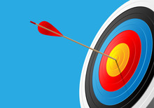 Archery Target And Arrow On Blue Sport Game Background Vector Illustration.