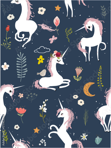Stoffe zum Nähen Nahtlose Muster mit Cartoon Einhörner und Blumen