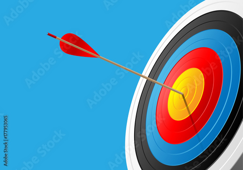 Foto Archery target and arrow on blue sport game background vector illustration