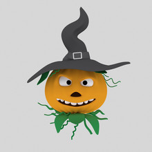 Pumpkin With Hat  Isolate. E...
