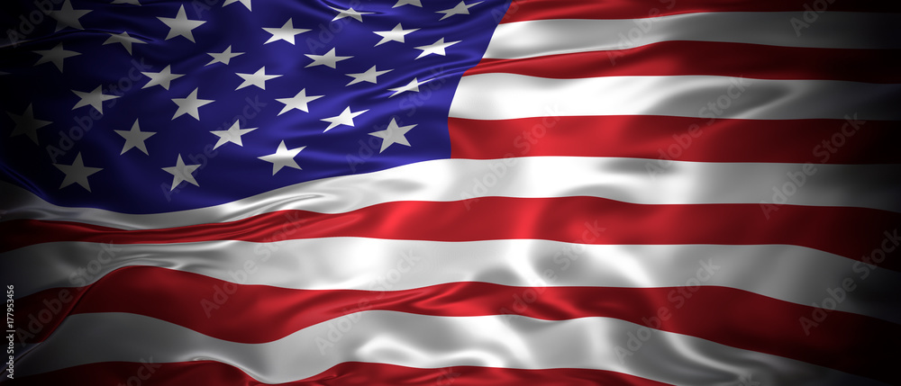 Fototapety, obrazy: National flag of the United States of America 3D panoramic illustration