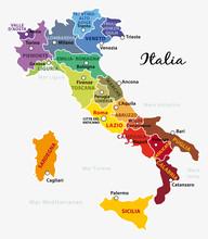 Mappa Dell'Italia Colorata Con...