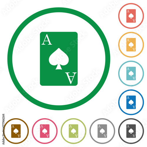 Ace of spades card flat icons with outlines плакат