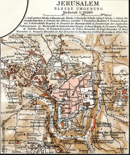 Fotografie, Obraz Map of Jerusalem (from Meyers Lexikon, 1896, 13/424/425)